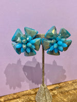 Load image into Gallery viewer, Crystal Flower Clip On Stud in Turquoise