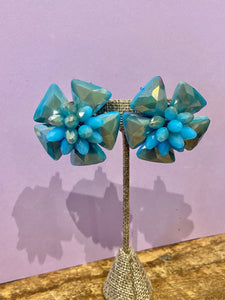 Crystal Flower Clip On Stud in Turquoise