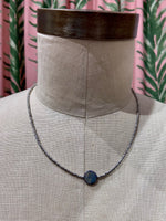 Load image into Gallery viewer, Dark Iridescent Shell Center Choker in Grey