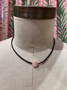 Pink Iridescent Shell Center Choker in Black
