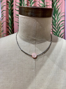 Pink Polished Shell Center Choker in Grey