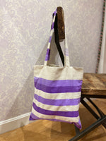 Load image into Gallery viewer, Valeria Market Tote in Purple Stripe