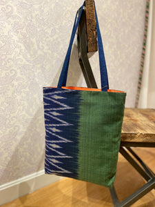 Savannah Ikat Tote in Green/Blue