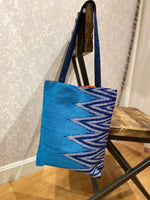 Load image into Gallery viewer, Savannah Ikat Tote in Azure/Blue