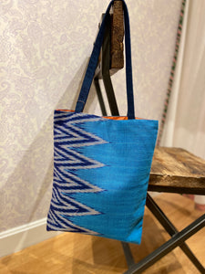 Savannah Ikat Tote in Azure/Blue
