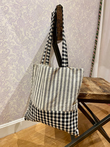 Valeria Market Tote in Gingham Stripe