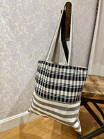 Load image into Gallery viewer, Valeria Market Tote in Plaid/Stripe