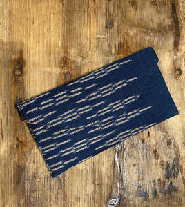 Lilly Cotton Ikat Clutch in Indigo Blue