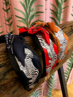 Load image into Gallery viewer, Zebra Bandana Print Headband in Red