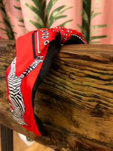 Zebra Bandana Print Headband in Red