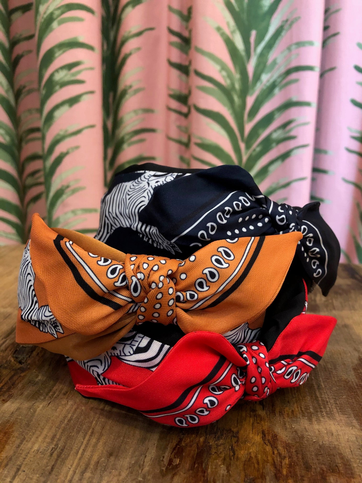 Zebra Bandana Print Headband in Orange