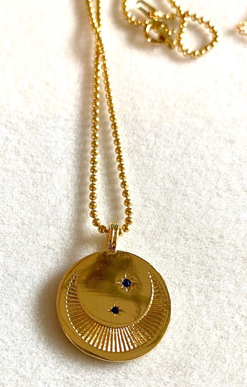 Crescent Moon 14K Gold Necklace with Sapphires