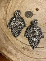 Load image into Gallery viewer, Beaded Jeweled Post Earrings in Silver