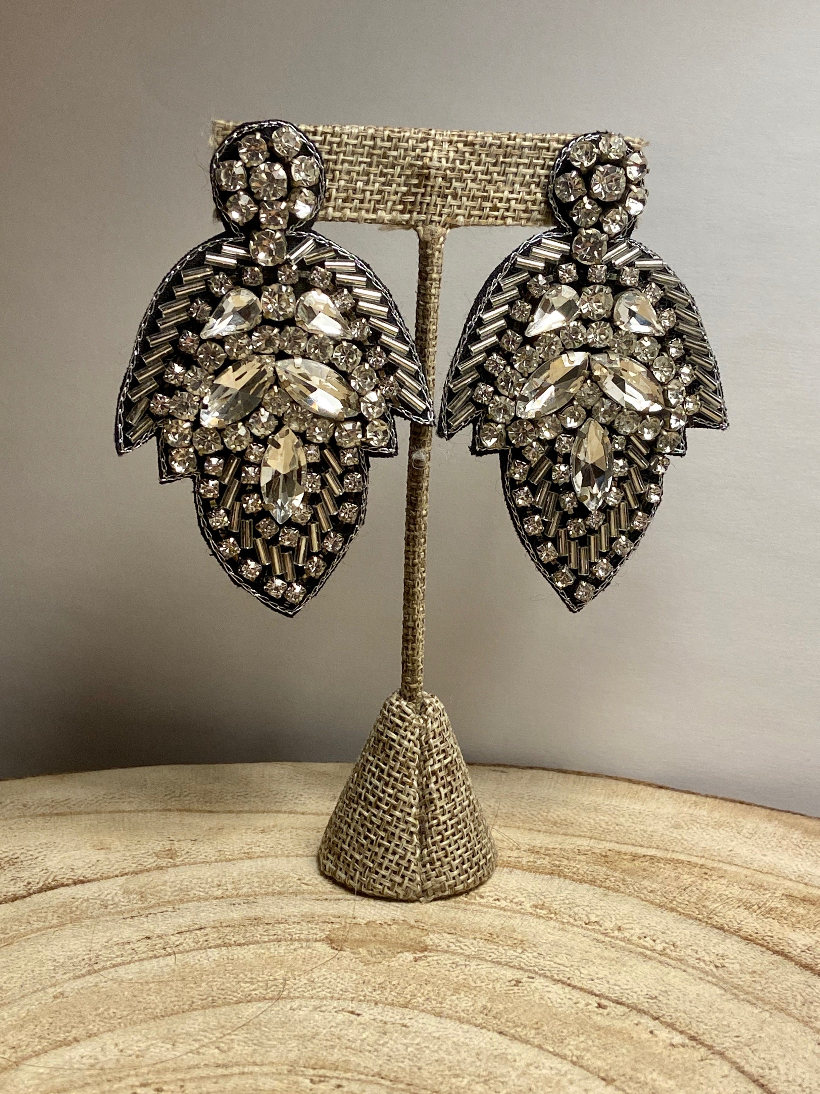 Beaded Jeweled Post Earrings in Silver