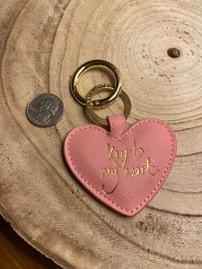 Key to My Heart Keychain in Pink Faux Leather