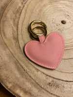Load image into Gallery viewer, Key to My Heart Keychain in Pink Faux Leather