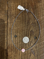 Load image into Gallery viewer, Pink Polished Shell Center Choker in Grey