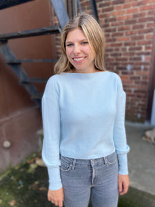Boat Neck Pullover in Clear Blue