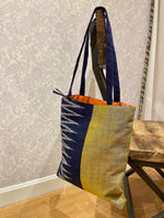 Load image into Gallery viewer, Savannah Ikat Tote in Yellow/Blue