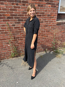 Button Down Shirt Maxi Dress in Vintage Black