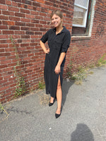 Load image into Gallery viewer, Button Down Shirt Maxi Dress in Vintage Black