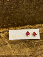 Load image into Gallery viewer, 24K Gold Vermeil Pronged Studs with Ruby