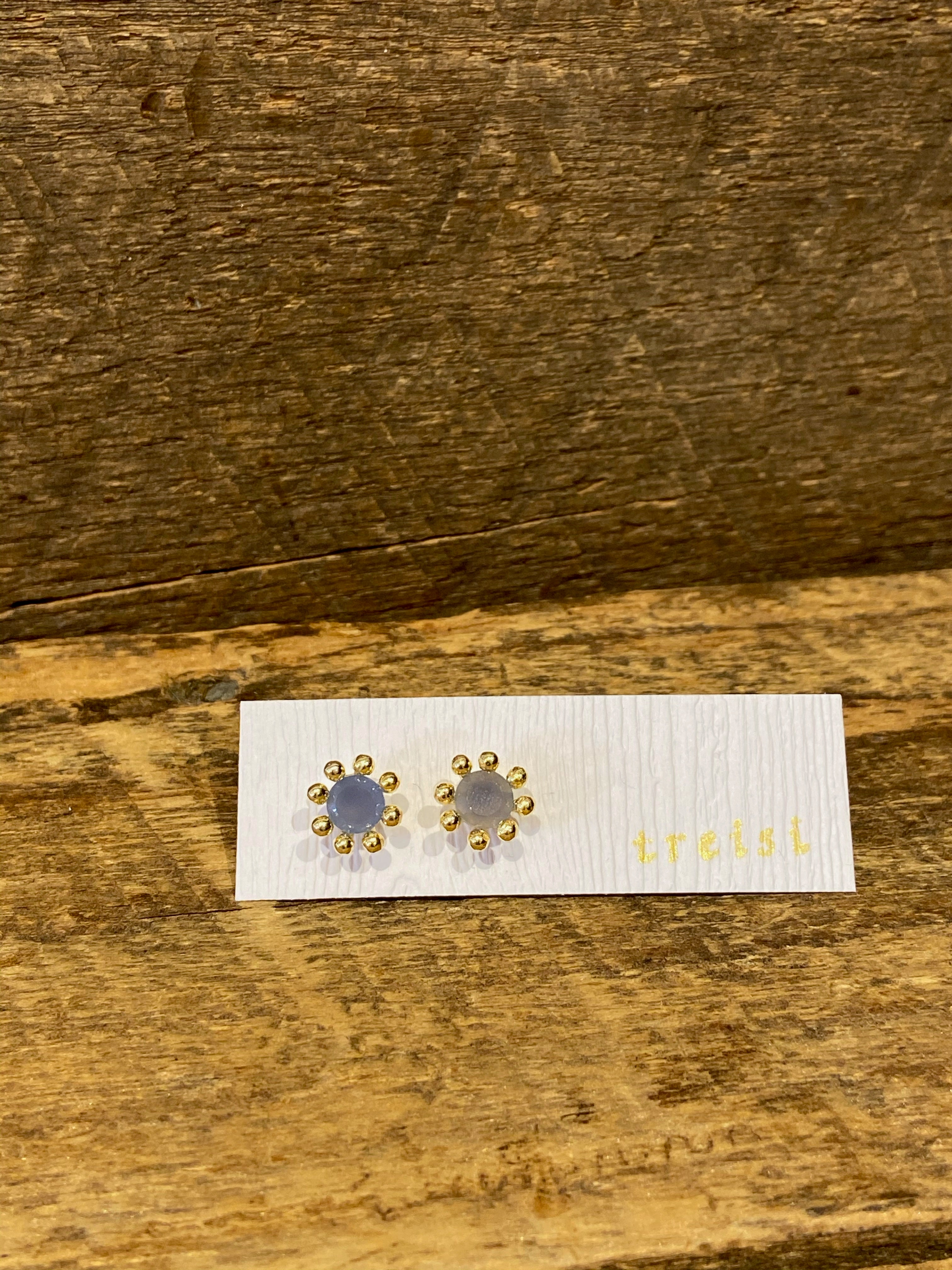 24K Gold Vermeil Pronged Studs with Chalcedony