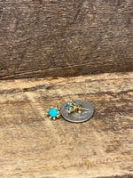 Load image into Gallery viewer, 24K Gold Vermeil Pronged Studs with Blue Aqua