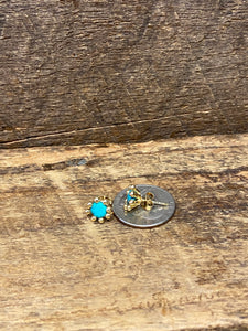 24K Gold Vermeil Pronged Studs with Blue Aqua