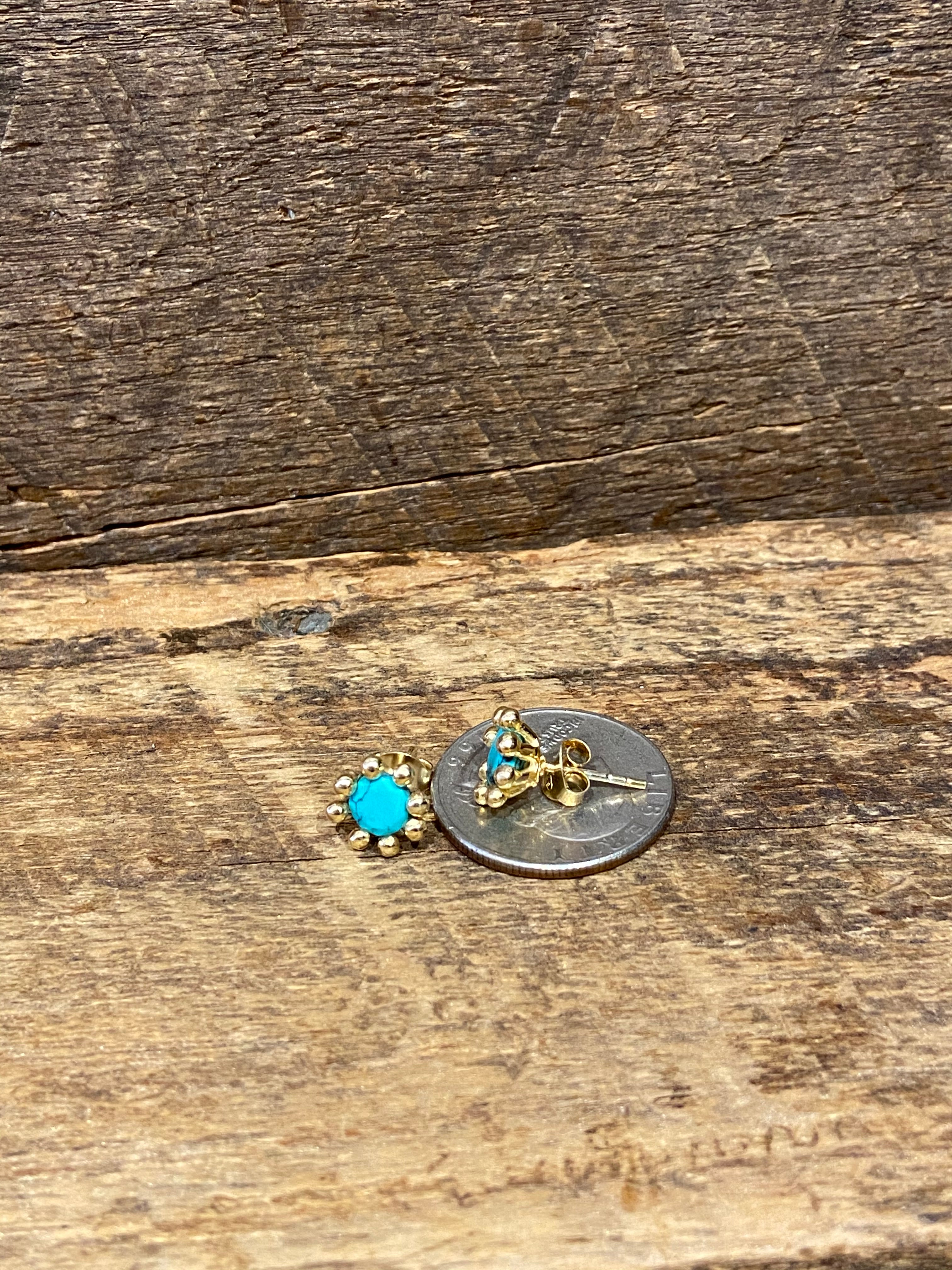 24K Gold Vermeil Pronged Studs with Moonstone