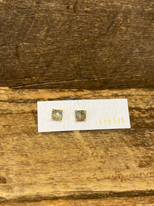 24K Gold Vermeil Small Four-Prong Stud with Labradorite