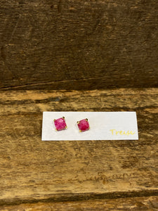 24K Gold Vermeil Small Four-Prong Stud with Ruby