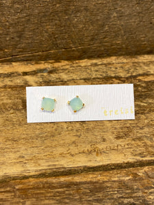 24K Gold Vermeil Small Four-Prong Stud with Aqua Blue