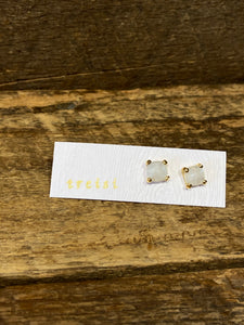 24K Gold Vermeil Small Four-Prong Stud with Moonstone