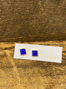 24K Gold Vermeil Square Studs with Blue Chalcedony