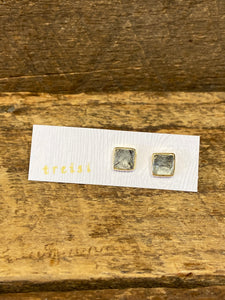 24K Gold Vermeil Square Studs with Rutilated Quartz
