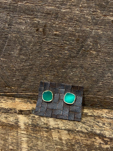 24K Gold Vermeil Studs with Green Chalcedony