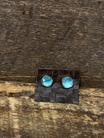 Load image into Gallery viewer, 24K Gold Vermeil Studs with Blue Topaz