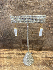 24K Gold Vermeil Wrapped Rectangular Earrings with Moonstone