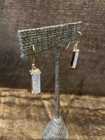 Load image into Gallery viewer, 24K Gold Vermeil Wrapped Rectangular Earrings with Moonstone