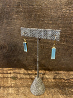 Load image into Gallery viewer, 24K Gold Vermeil Wrapped Rectangular Earrings with Aqua Blue