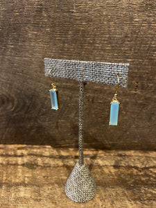 24K Gold Vermeil Wrapped Rectangular Earrings with Aqua Blue