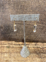 Load image into Gallery viewer, 24K Gold Vermeil Wrapped Rectangular Earrings with Clear Quartz