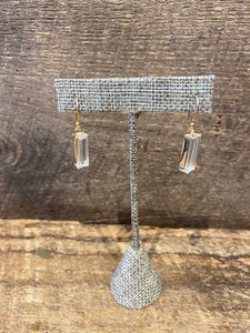 24K Gold Vermeil Wrapped Rectangular Earrings with Clear Quartz
