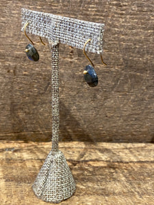 24K Gold Vermeil Stone Drop Earrings with Labradorite
