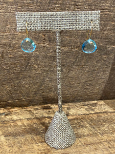24K Gold Vermeil Stone Drop Earrings with Blue Topaz
