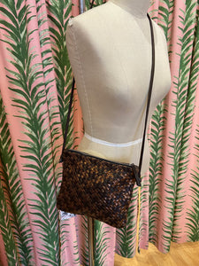 Woven Leather Crossbody Bag in Copper