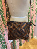 Load image into Gallery viewer, Woven Leather Crossbody Bag in Copper