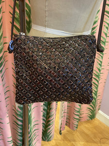 Woven Leather Crossbody Bag in Brown Mix