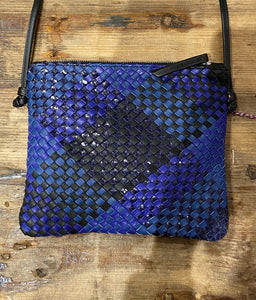 Woven Leather Crossbody Bag in Blue Mix